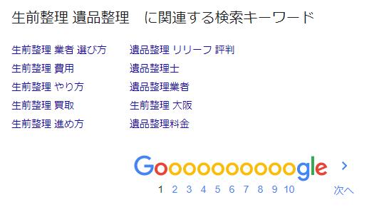「生前整理 遺品整理」に関連する検索キーワード