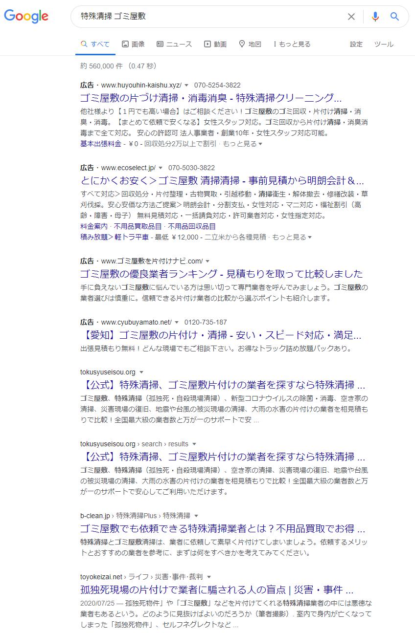 「特殊清掃 ゴミ屋敷」のGoogle検索結果